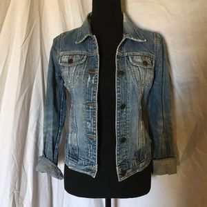 Abercrombie distressed blue jean jacket